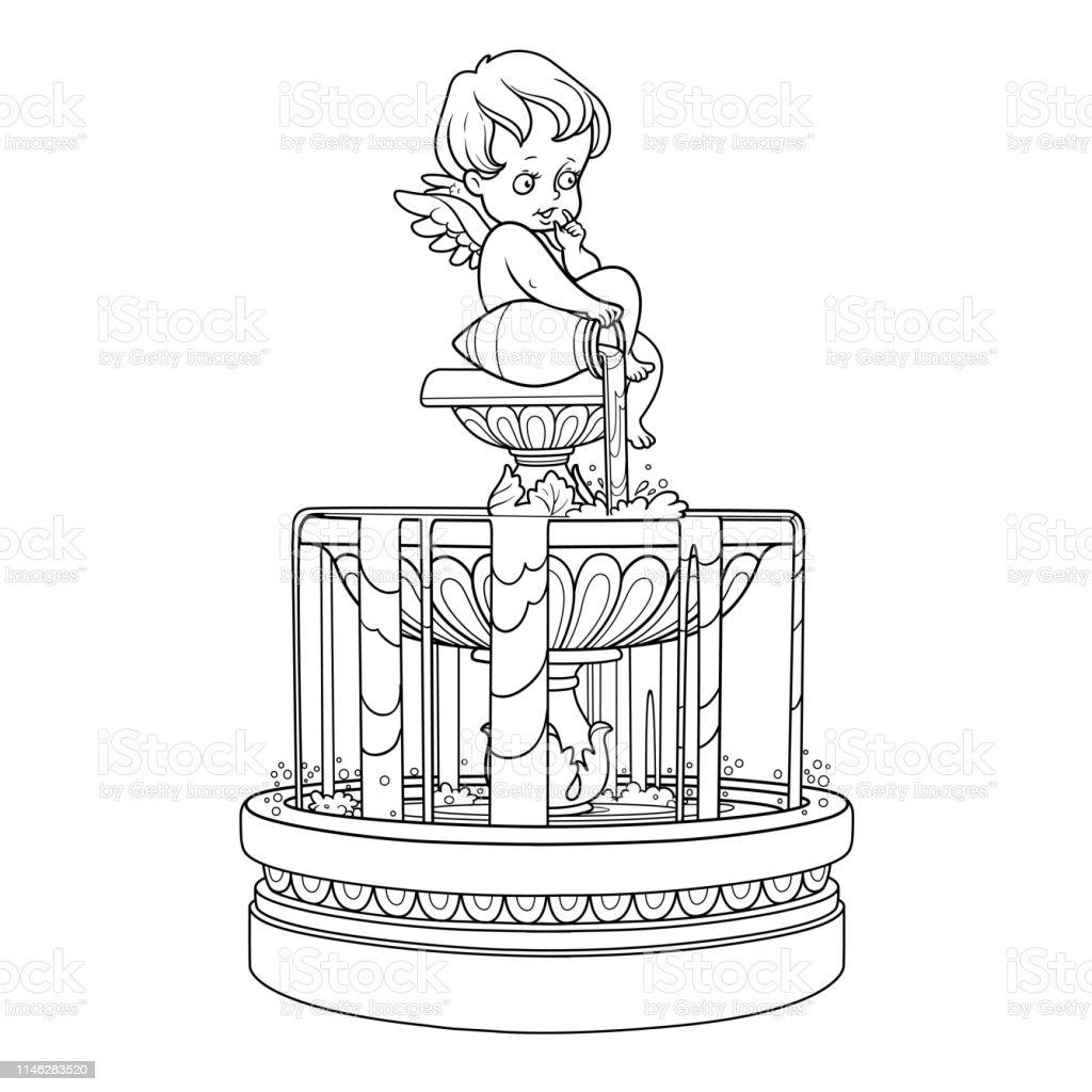 Ilustración De Fuente Con Una Figura De Cupido Que Vierte