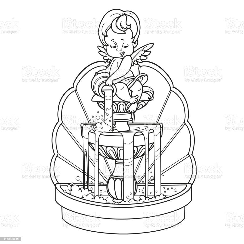Ilustración De Fuente Con Figura De Cupido Verter Agua De