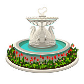 Fountain with swans isolated on white background.Vector illustration.