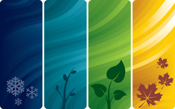 four abstract backgrounds - four seasons stock illustrations