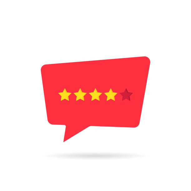four abstract rating star like positive feedback four abstract rating star like positive feedback. concept of simple grading or ranking for consumer products or services. flat style trend graphic design isolated on white rating stock illustrations