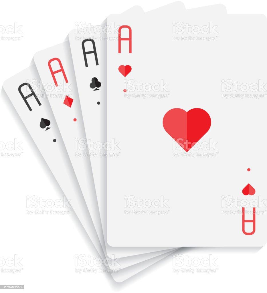 孤立在白色背景上的四個 Ace 卡 免版稅 孤立在白色背景上的四個 ace 卡 向量插圖及更多  紅心 圖片
