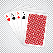 Four aces in five card poker hand playing cards with back design. Winning poker hand.