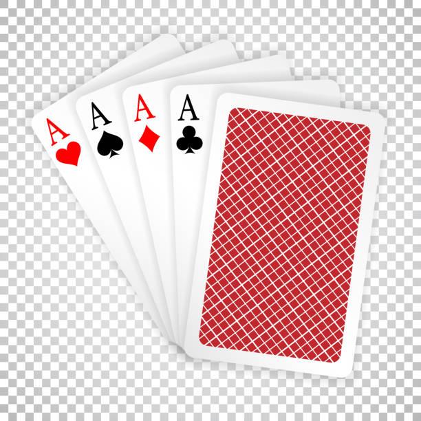 vier asse in fünf karten poker hand spielkarten mit rücken entwerfen. pokerhand zu gewinnen - holzdeck stock-grafiken, -clipart, -cartoons und -symbole