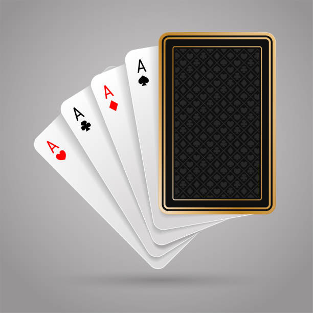 Four aces in five playing card. Winning poker hand Four aces in five playing card with black back design on gray background. Winning poker hand poker stock illustrations