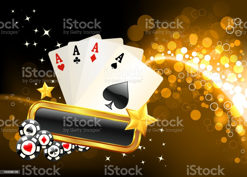 four aces on golden glow Background vector art illustration