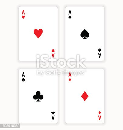 High Angle View of Four Playing Cards Spread Out on White Background Showing Aces from Each Suit - Hearts, Clubs, Spades and Diamonds . EPS version 10 with transparency included in download.
