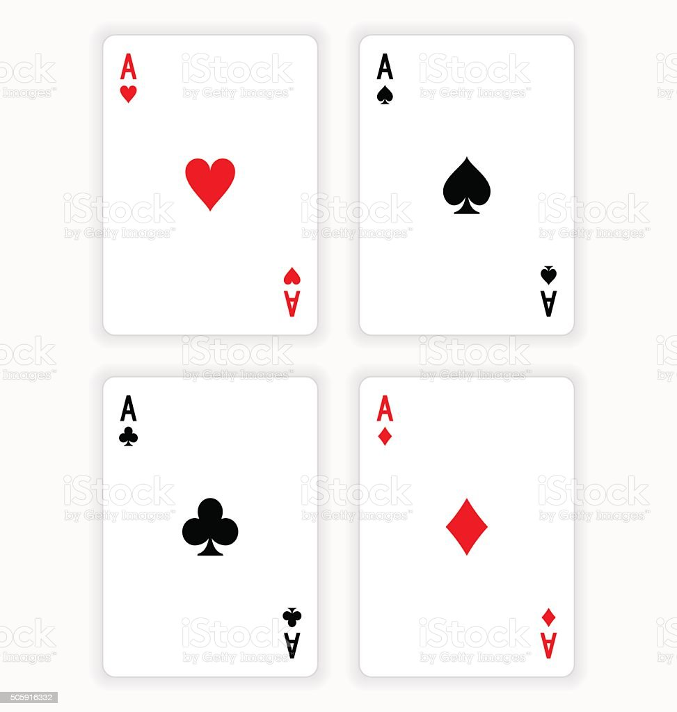 Four Aces Playing Cards on White Background vector art illustration