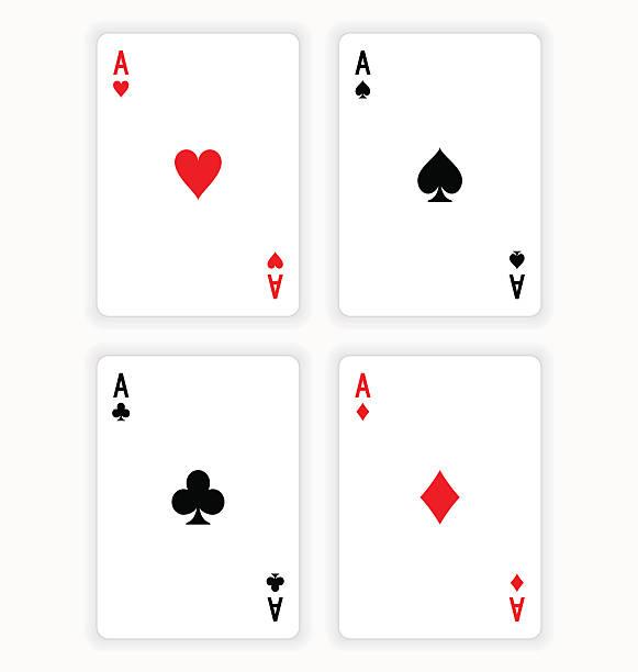 four aces spielkarten auf weißem hintergrund - kartenspielen stock-grafiken, -clipart, -cartoons und -symbole