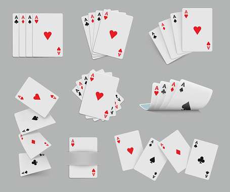 Four aces playing cards set