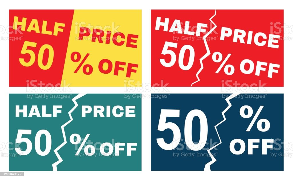four advertisements leaflets flyers sale sticker with advertising offer royalty free four