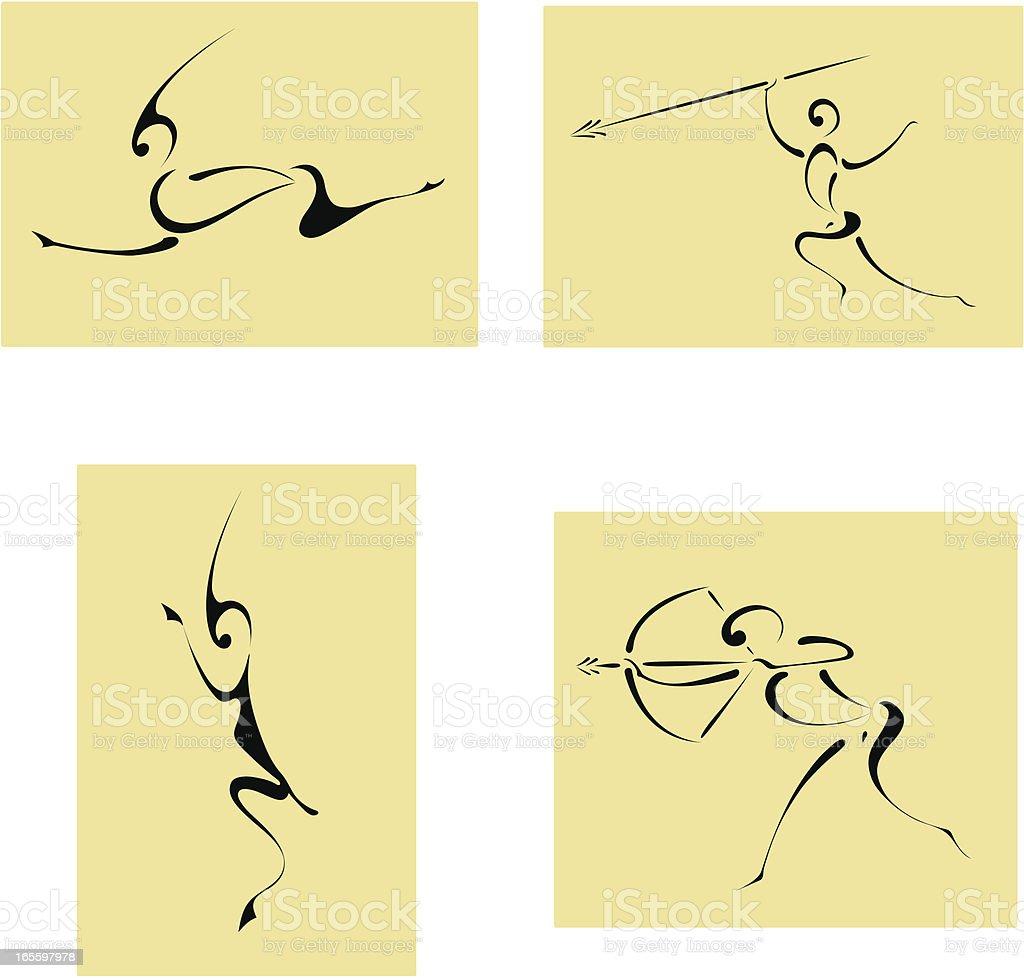 Cuatro iconos de caza de África. ilustración de cuatro iconos de caza de África y más banco de imágenes de abstracto libre de derechos