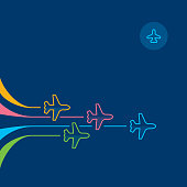Directly above view to four colorful single line airplanes flying forward on navy blue background. Business strategy concept illustration. Outline stroke 2px.