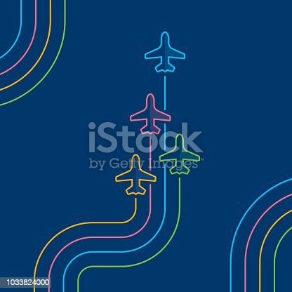 Business travel concept. Four airplanes leave color parallel traces. Directly above view to single line airplanes on navy blue background. Outline stroke 2px.