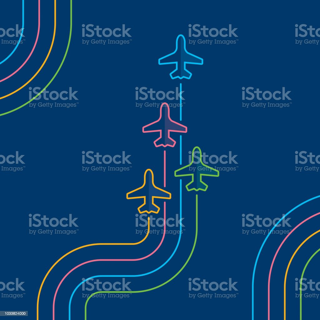 Four airplanes flying up on navy blue vector art illustration