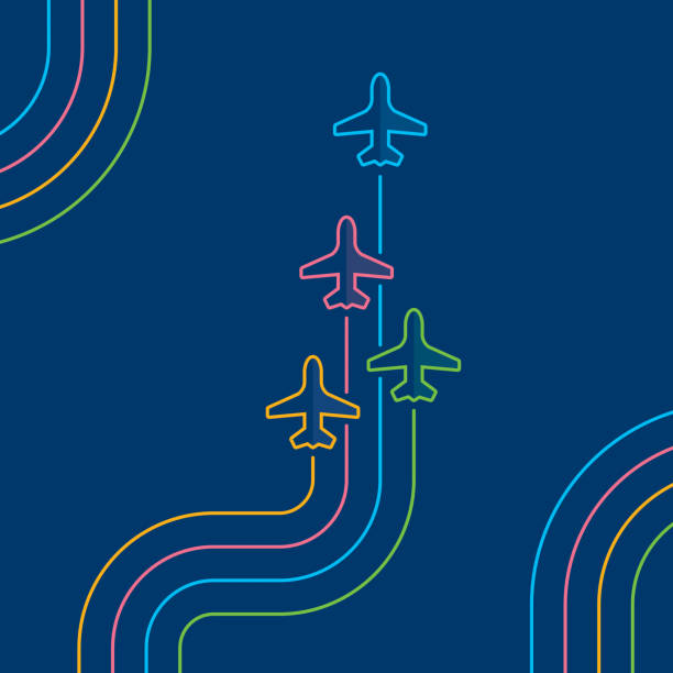 four airplanes flying up on navy blue - commercial airplane stock illustrations