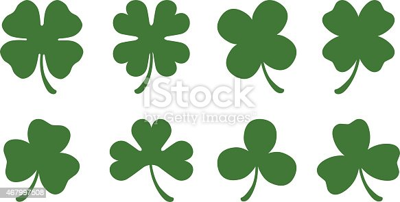 A set of 8 different clover silhouettes. There are four different three leaf clovers and four different four leaf clovers.