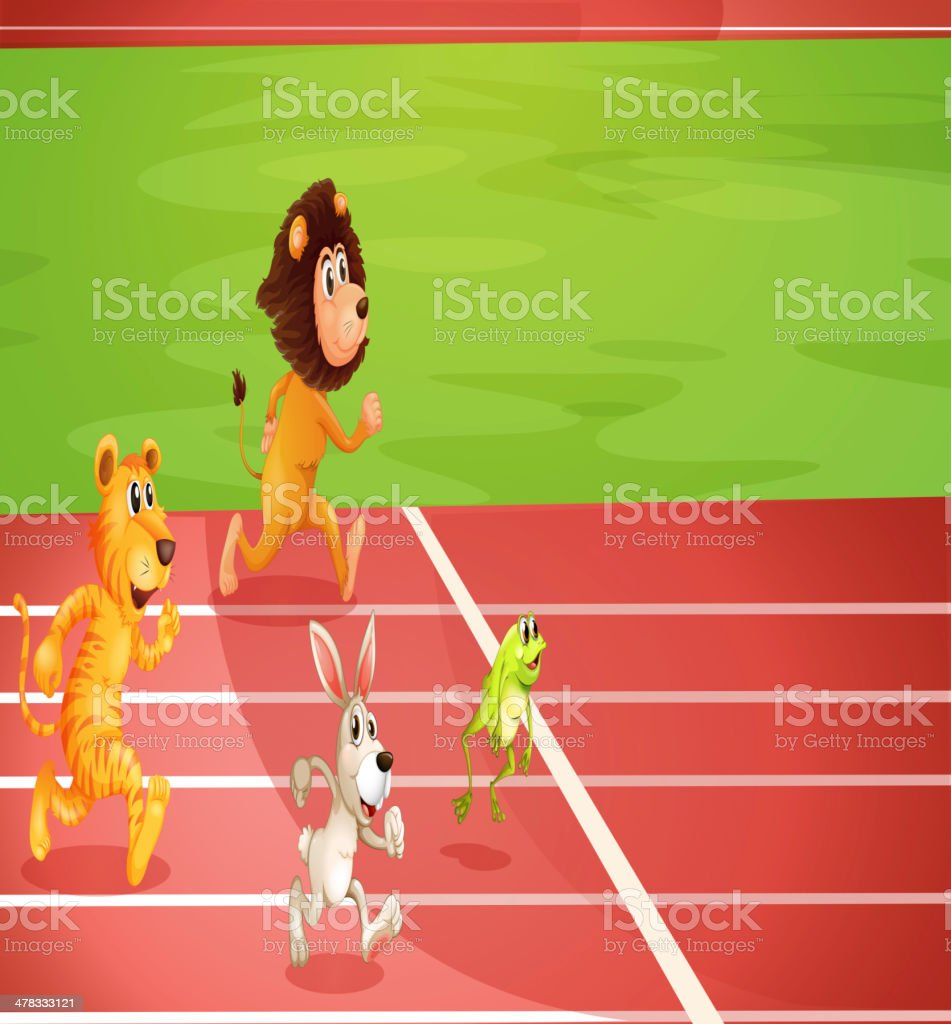 Four animals doing a race royalty-free stock vector art
