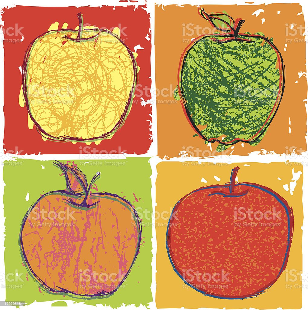 four apples stock vector art more images of apple fruit