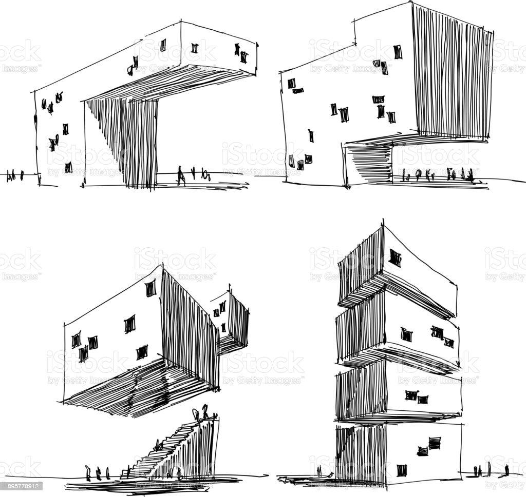 Vier Architektonische Skizzen Einer Modernen Abstrakten Architektur Lizenzfreies Stock