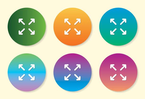 dört ok altı renk degrade simge tasarımı. - start stock illustrations