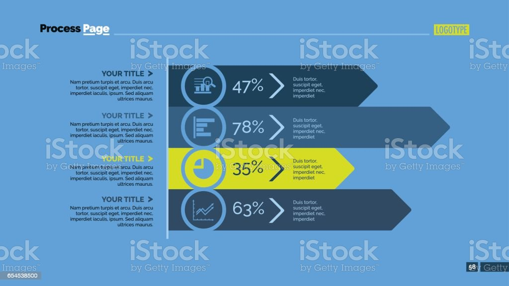 Four Arrows Analysis Slide Template vector art illustration