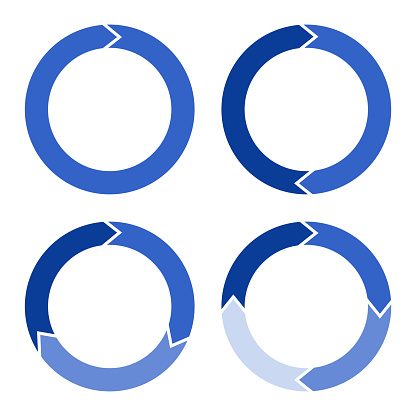 Four arrows in the form of a circle in blue with a gradient. Vector illustration. Stock Photo.