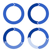 Four arrows in the form of a circle in blue with a gradient.