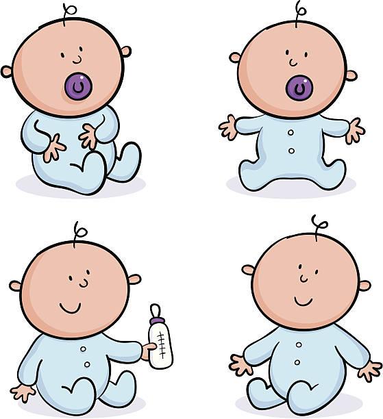 stockillustraties, clipart, cartoons en iconen met four babies - alleen één jongensbaby
