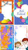 Four background design with happy holi festival theme illustration