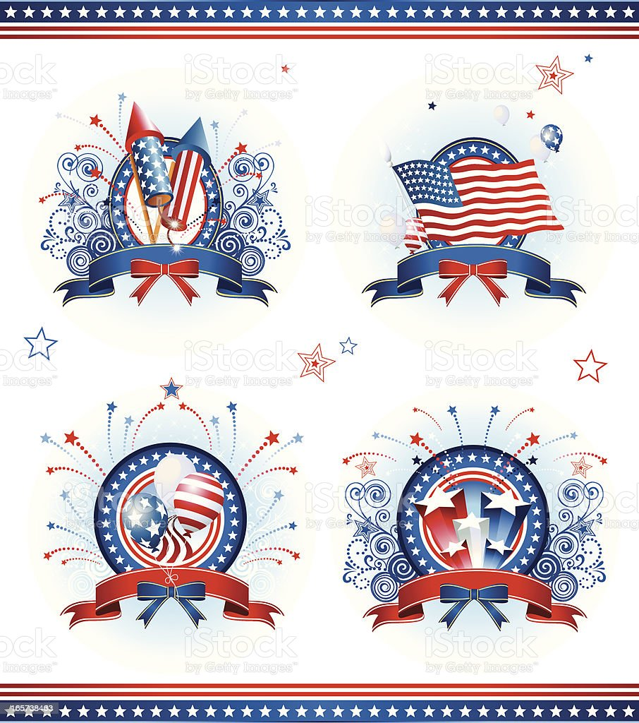 Four badges themed with the Fourth of July commemoration vector art illustration
