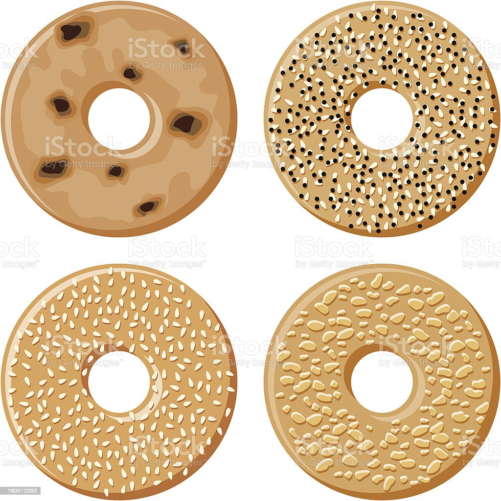 Four Bagels royalty-free stock vector art
