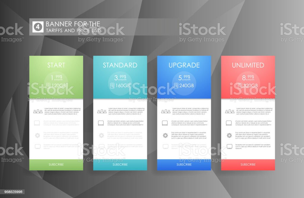 four banner for the clouded sky service price list hosting plans and