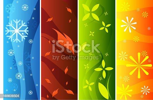 istock Four banners representing seasons 165609304