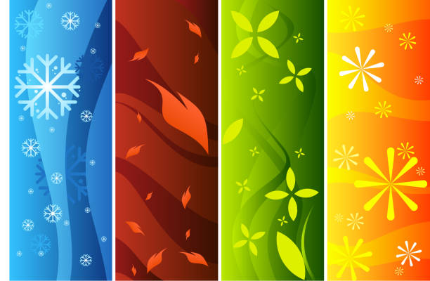 four banners representing seasons - four seasons stock illustrations