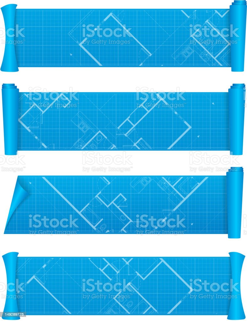Four banners that connect together to make a blueprint royalty-free stock vector art