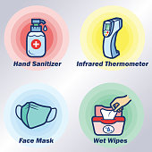 Four items for prevent spread of viruses multi Color clip art icon vector illustration for various uses Easy resize. All objects is layered and editable text. Vector EPS file and image jpeg full HD.