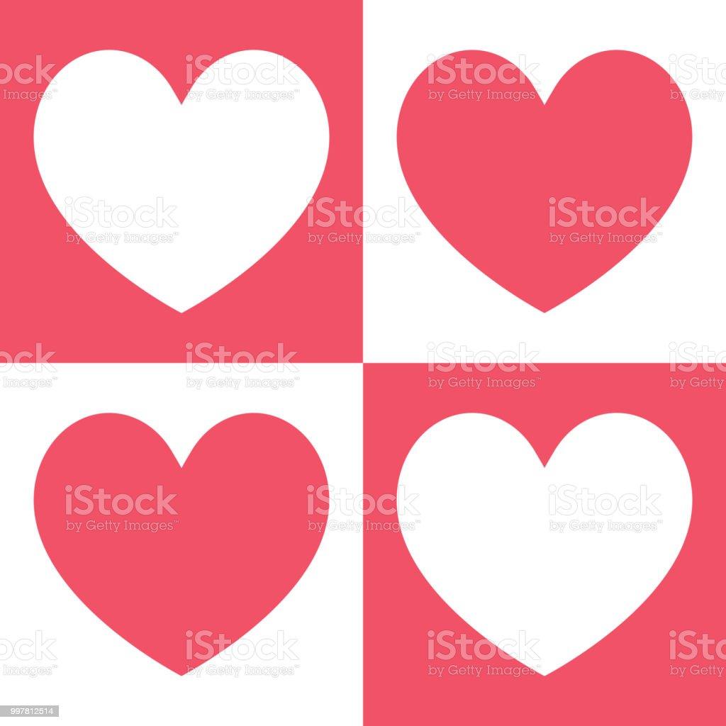ベクトル イラスト背景パターンの 4 つの美しいピンクと白心 - お祝いの