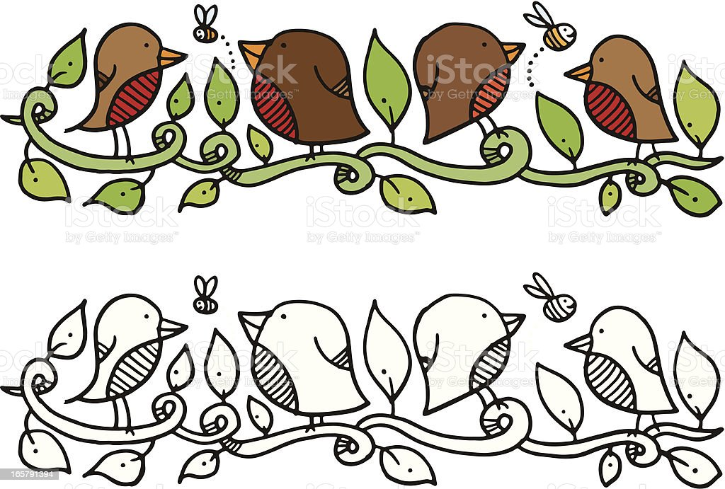 Four birds on a vine with bees and white background vector art illustration