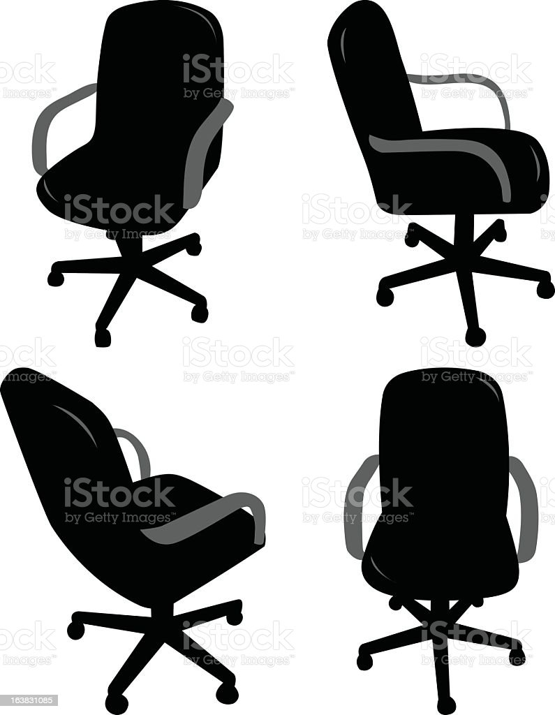 Office Furniture Clipart Four Black And Gray Silhouettes Of Chairs Vector Art Illustration