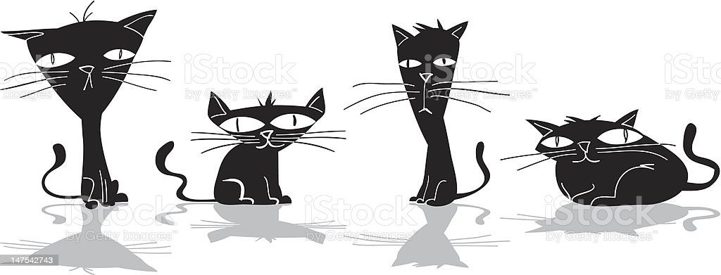 Four Black Cats royalty-free stock vector art
