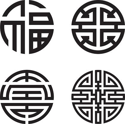 Four blessings: fu, lu, shou and cai (Chinese, Taoist symbol)