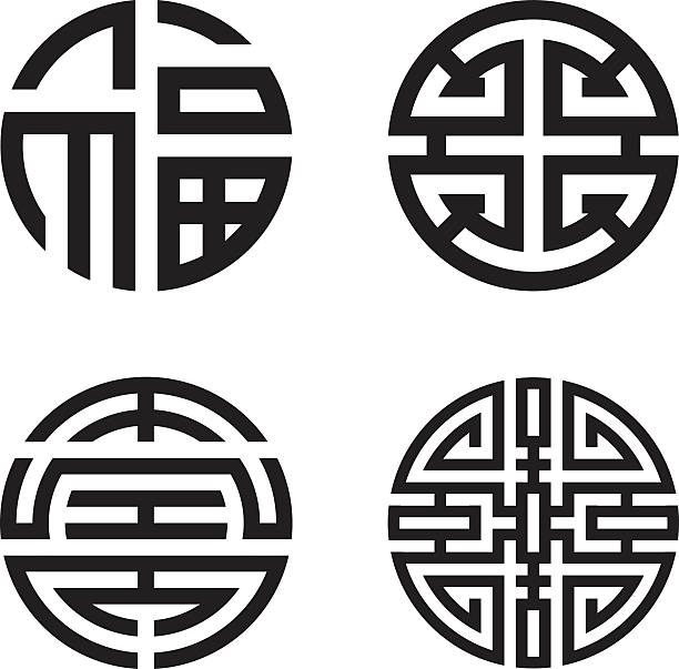 Four blessings: fu, lu, shou and cai (Chinese, Taoist symbol) Black and white illustrations of the