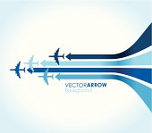 four blue airplanes