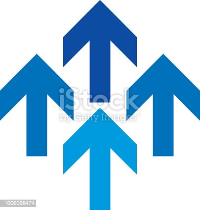 Vector illustration of four blue direction arrows.