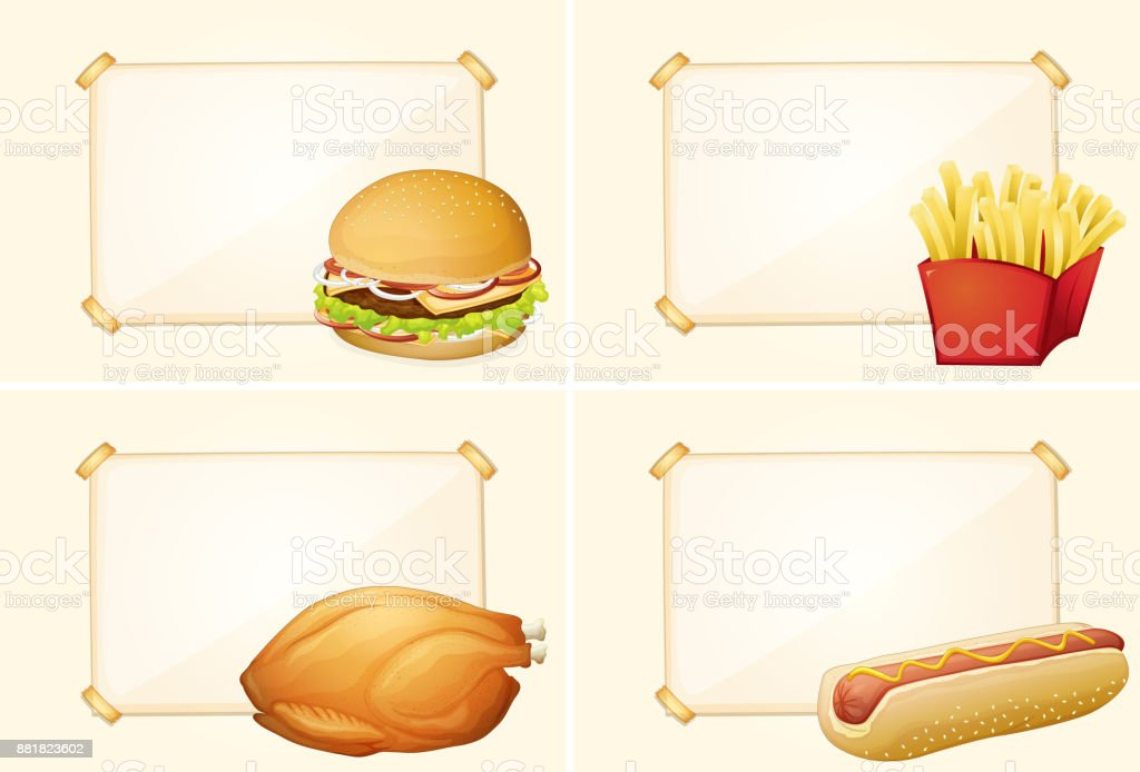 Four border templates with different fastfood meals vector art illustration