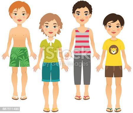 Four boys in summer outfits