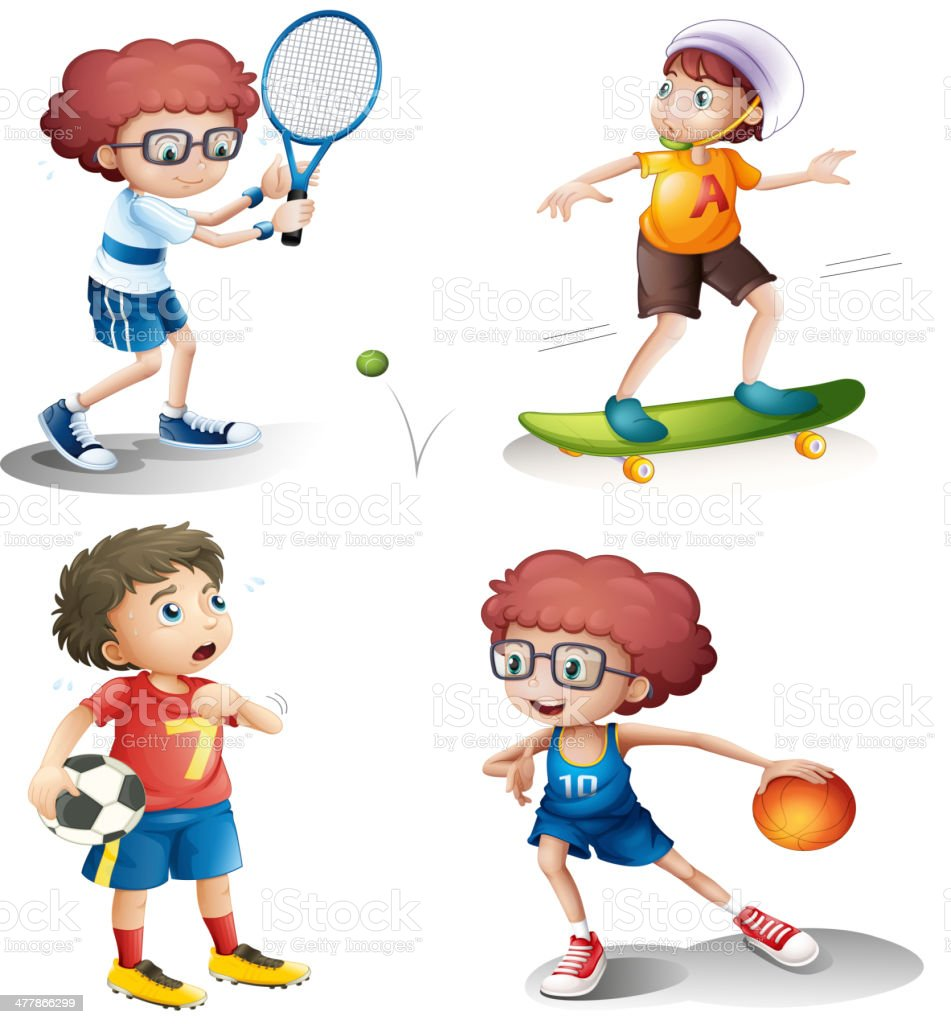 Four boys performing different sports royalty-free four boys performing different sports stock vector art & more images of activity