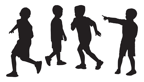Four Boys Playing Silhouettes