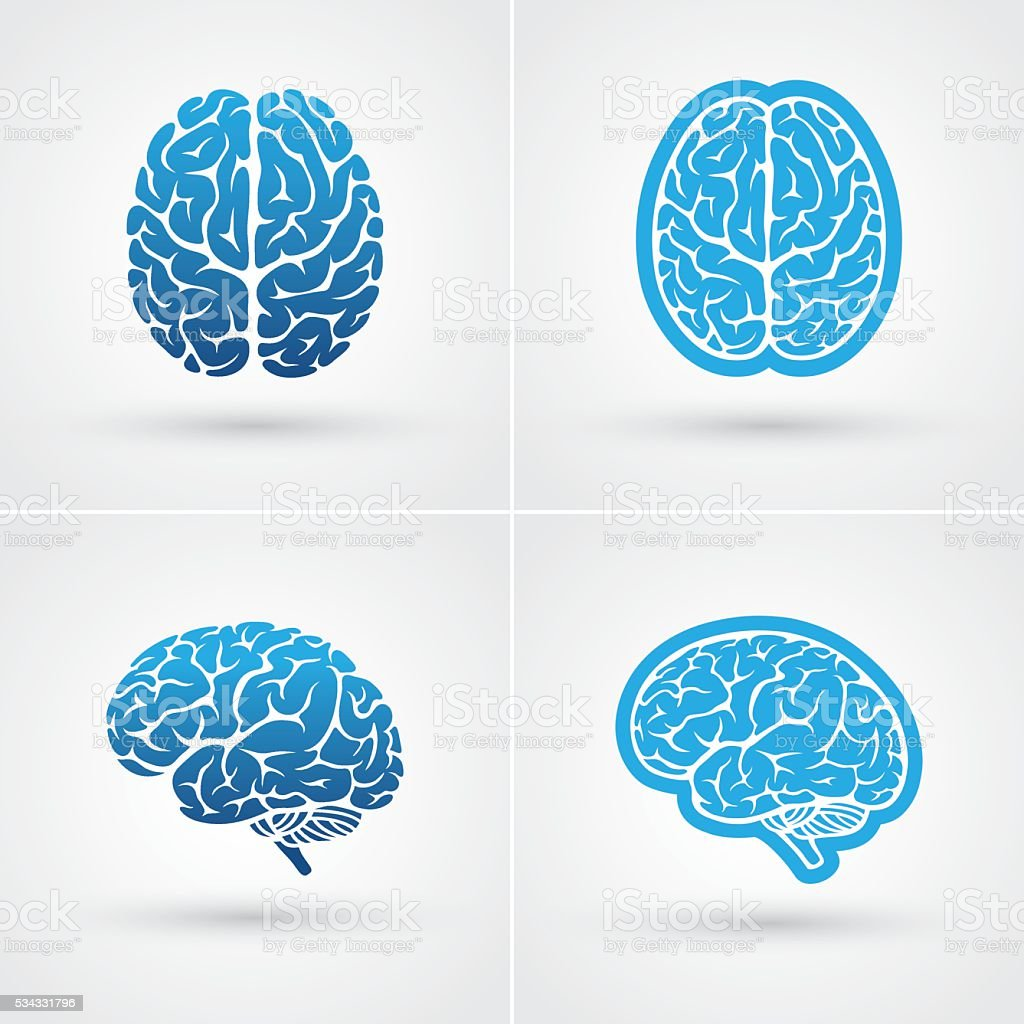 Four brain icons vector art illustration